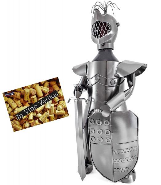BRUBAKER Flaschenhalter Ritter Metall Skulptur mit Geschenkkarte